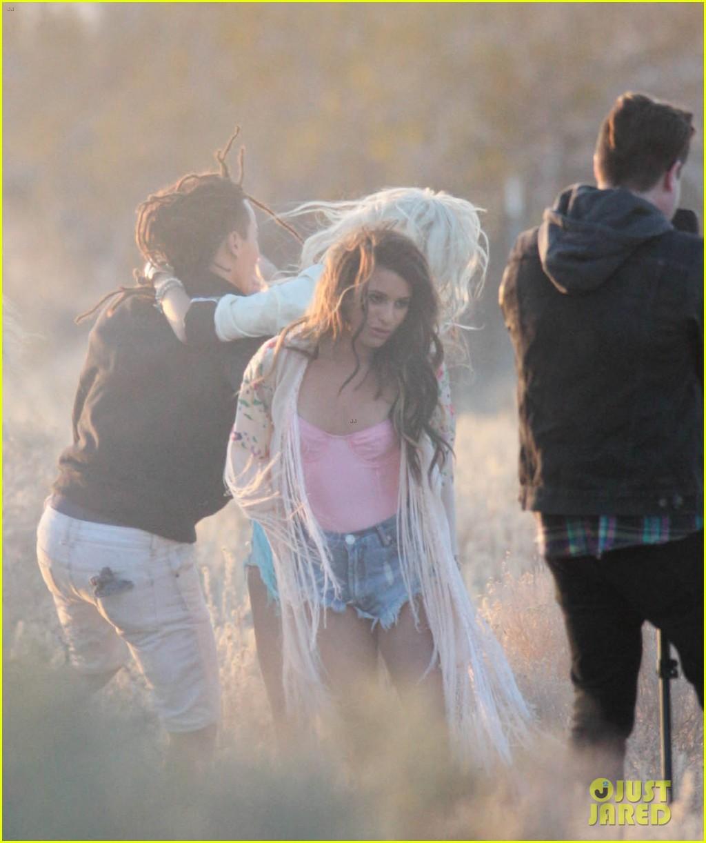 lea michele cozy co star music video set 303095736