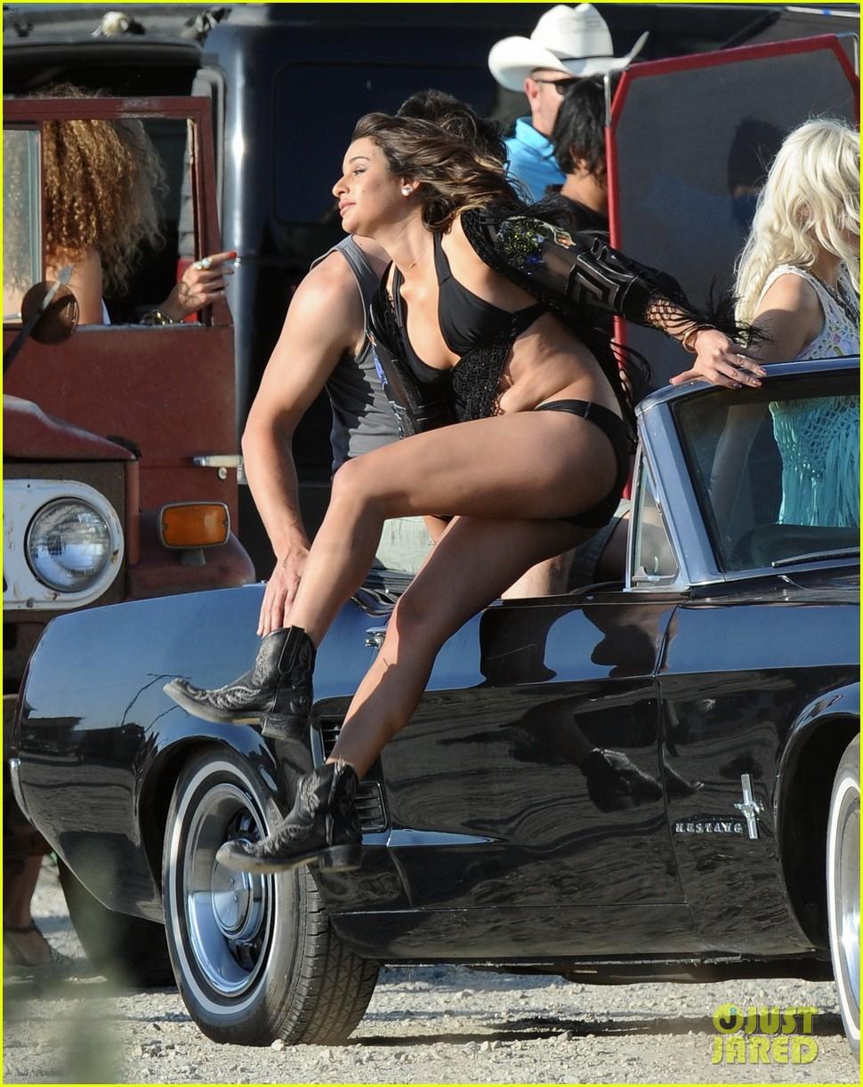 lea michele bikini on my way music video shoot 13