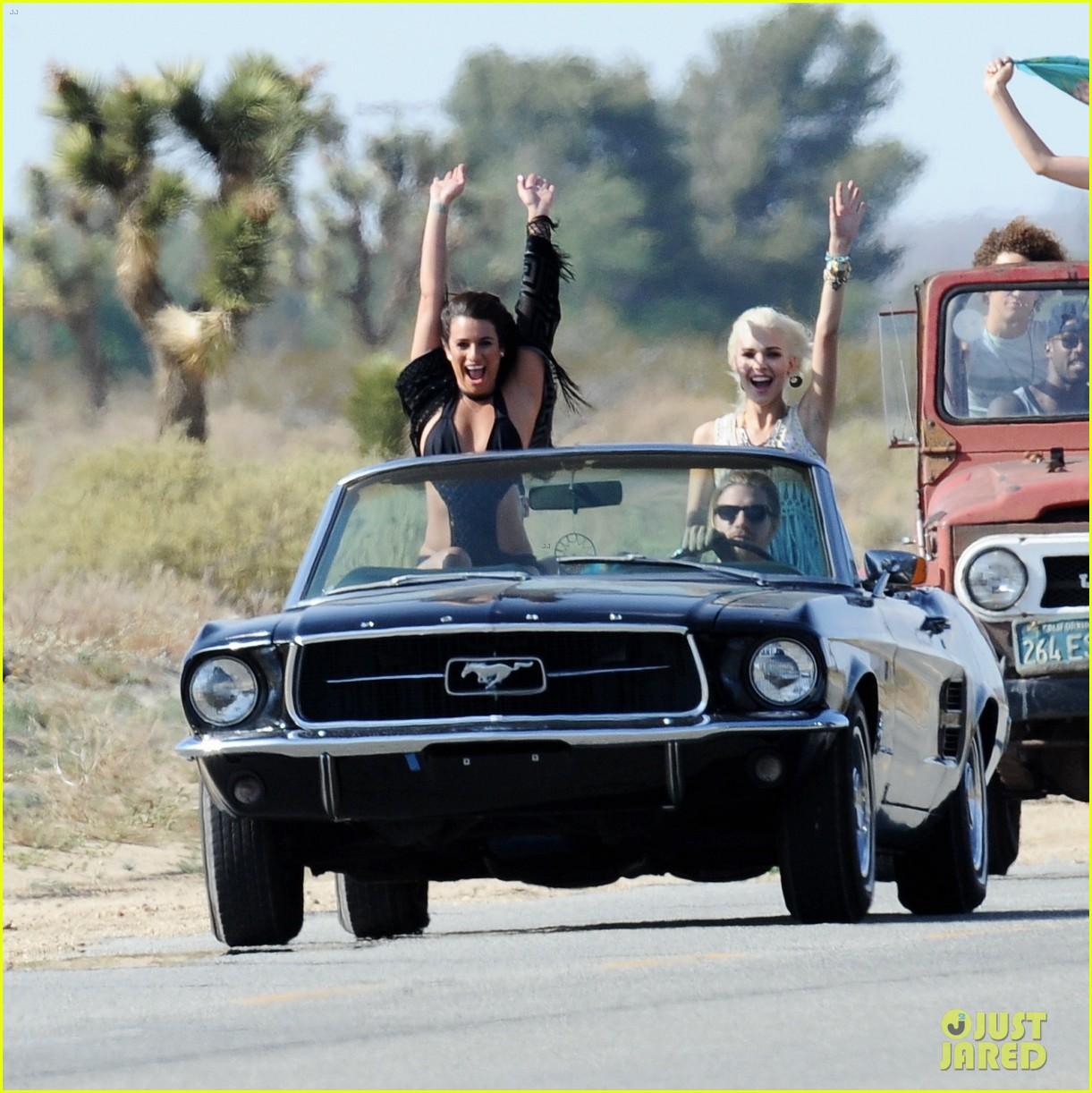 lea michele bikini on my way music video shoot 393095587