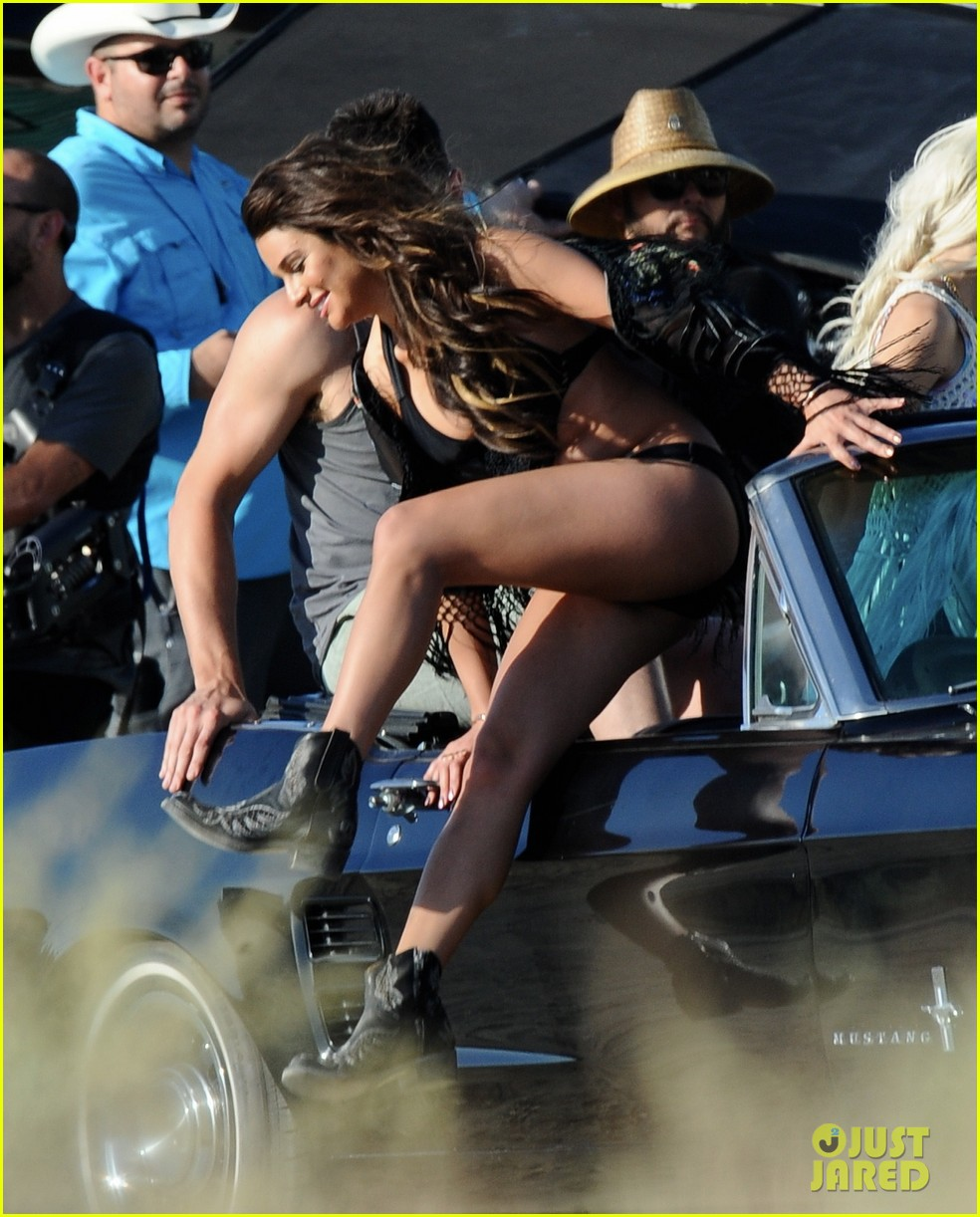 lea michele bikini on my way music video shoot 48