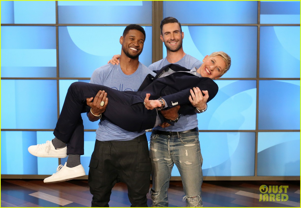 adam levine visits ellen usher lets one lucky audience member feel his abs 023098302