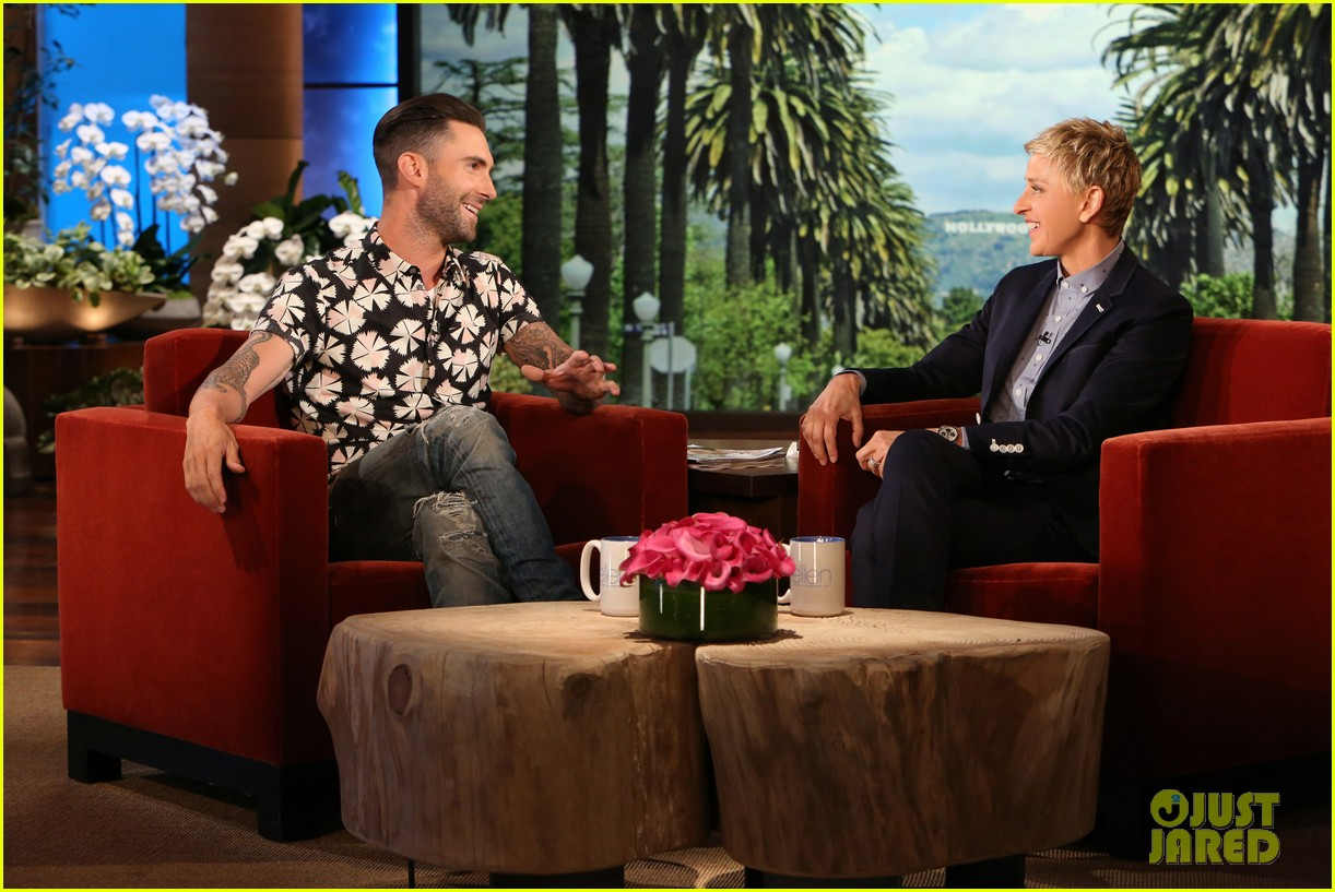 adam levine visits ellen usher lets one lucky audience member feel his abs 053098305