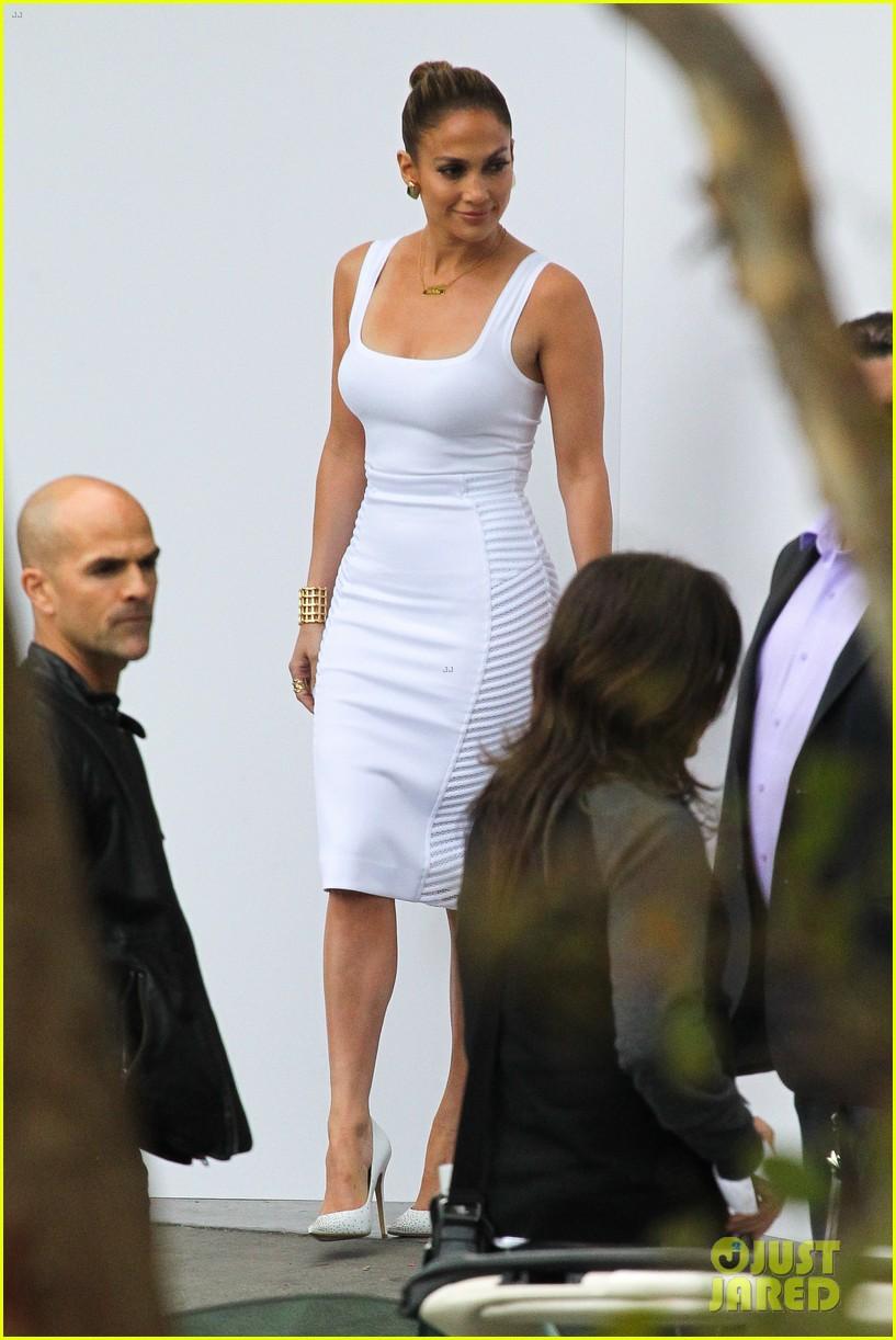 jennifer lopez white hot form fitting dress idol 073088721