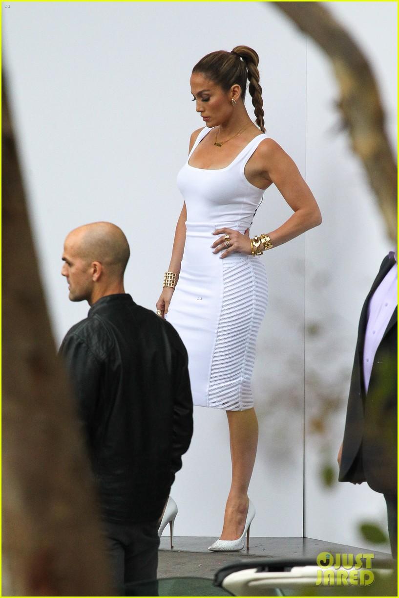 jennifer lopez white hot form fitting dress idol 163088730