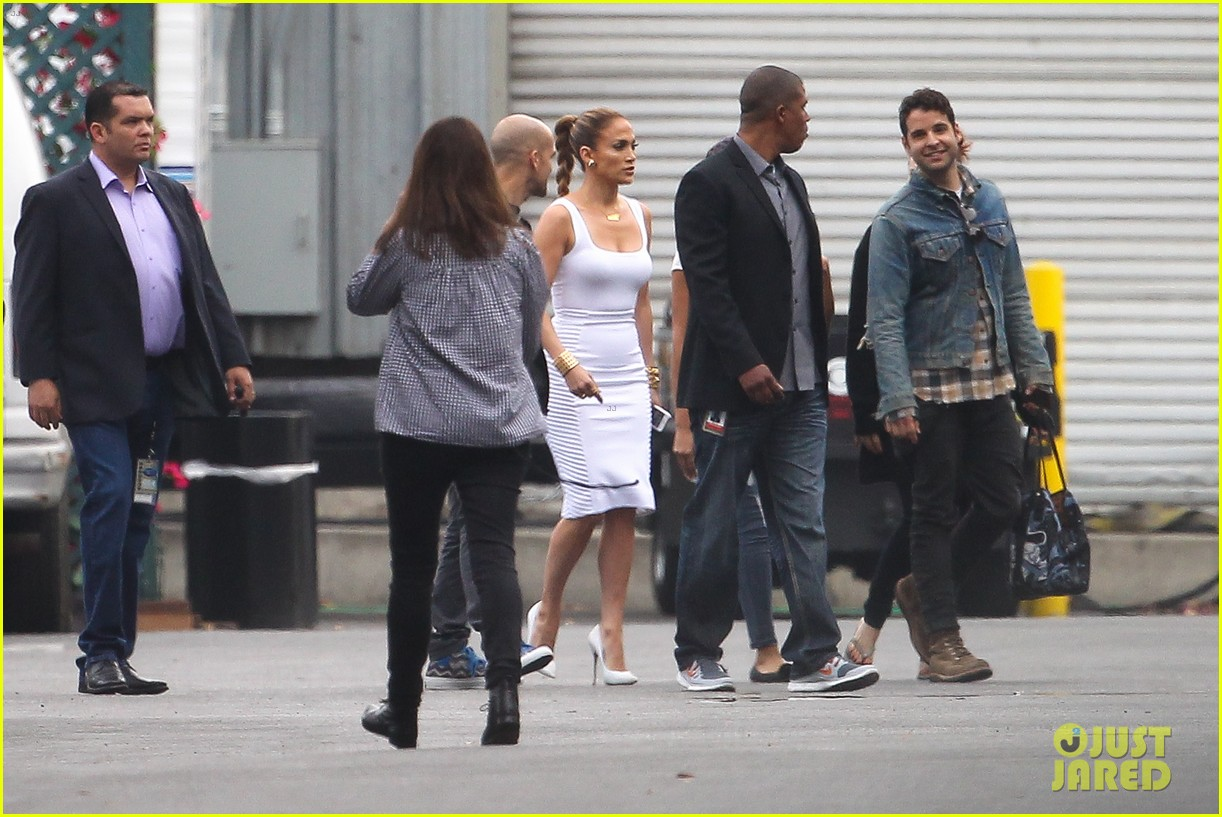 jennifer lopez white hot form fitting dress idol 203088734