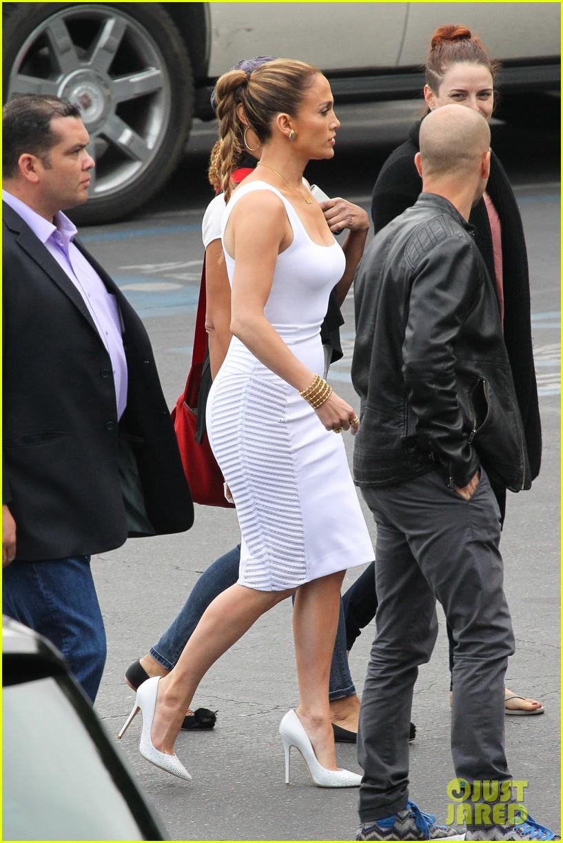 jennifer lopez white hot form fitting dress idol 233088737
