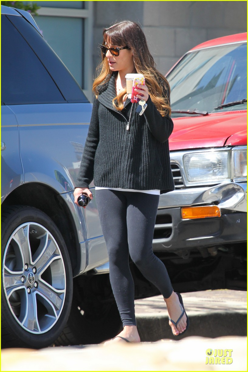 lea michele drinks coffee week 053082504