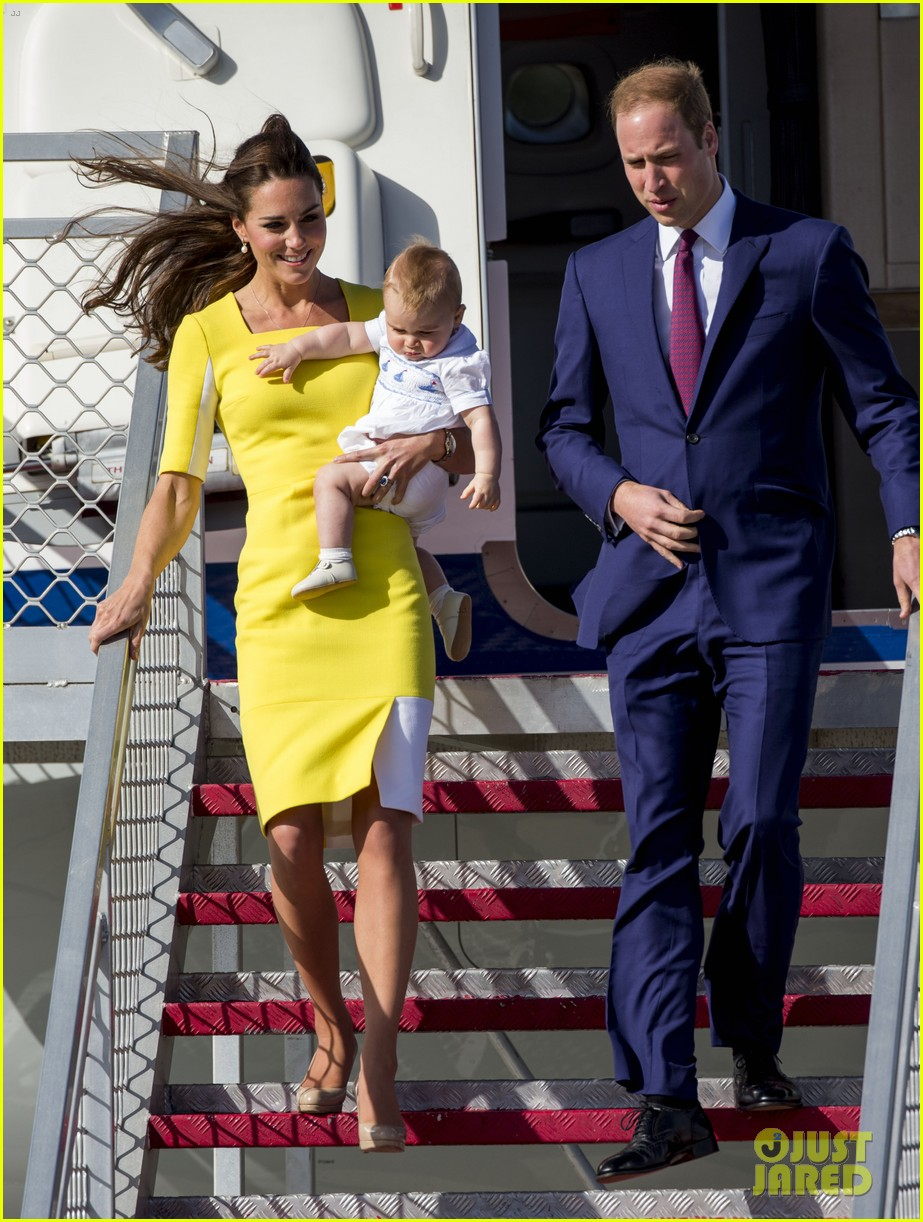kate middleton changes into yellow dress to arrive in australia 303093113