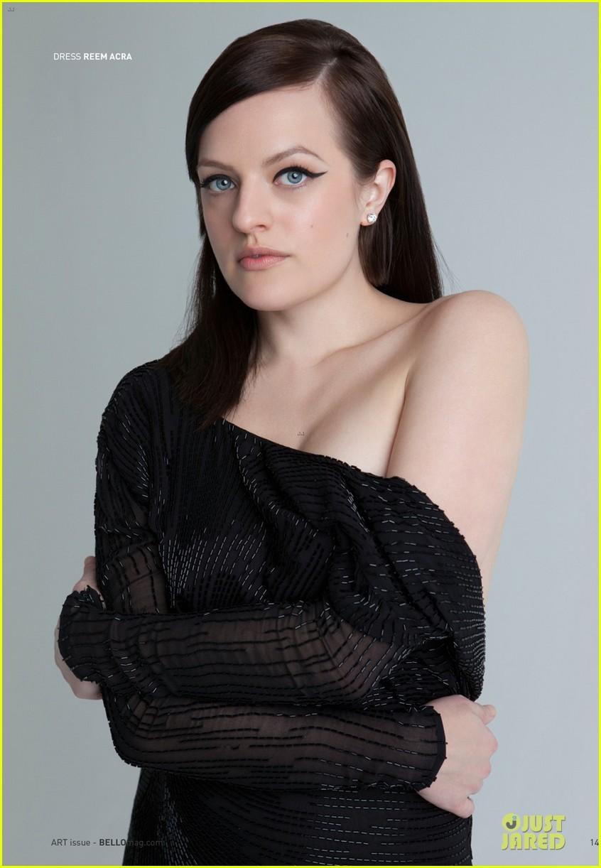 elisabeth moss shows off black bra in sexy top in bello 033085247