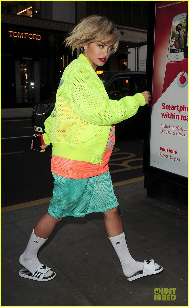 rita ora new hairdo in neon ensemble 243085103
