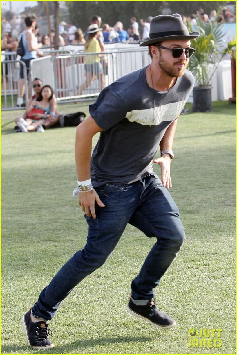 aaron paul wife wears retro bikini at coachella 163090217