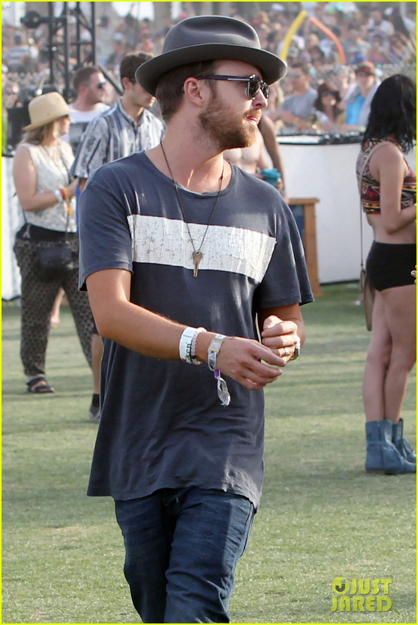 aaron paul wife wears retro bikini at coachella 173090218