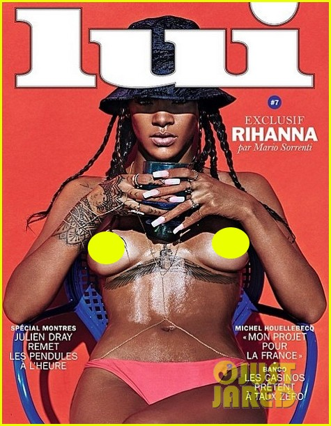 rihanna goes totally topless exposes breasts for lui magazine 013101629