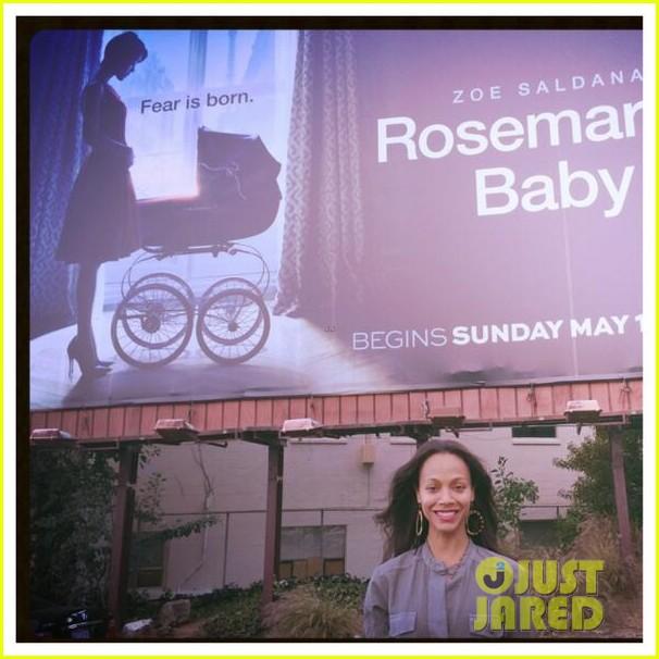 zoe saldana has been posting selfies in front of rosemarys baby billboards 063101612