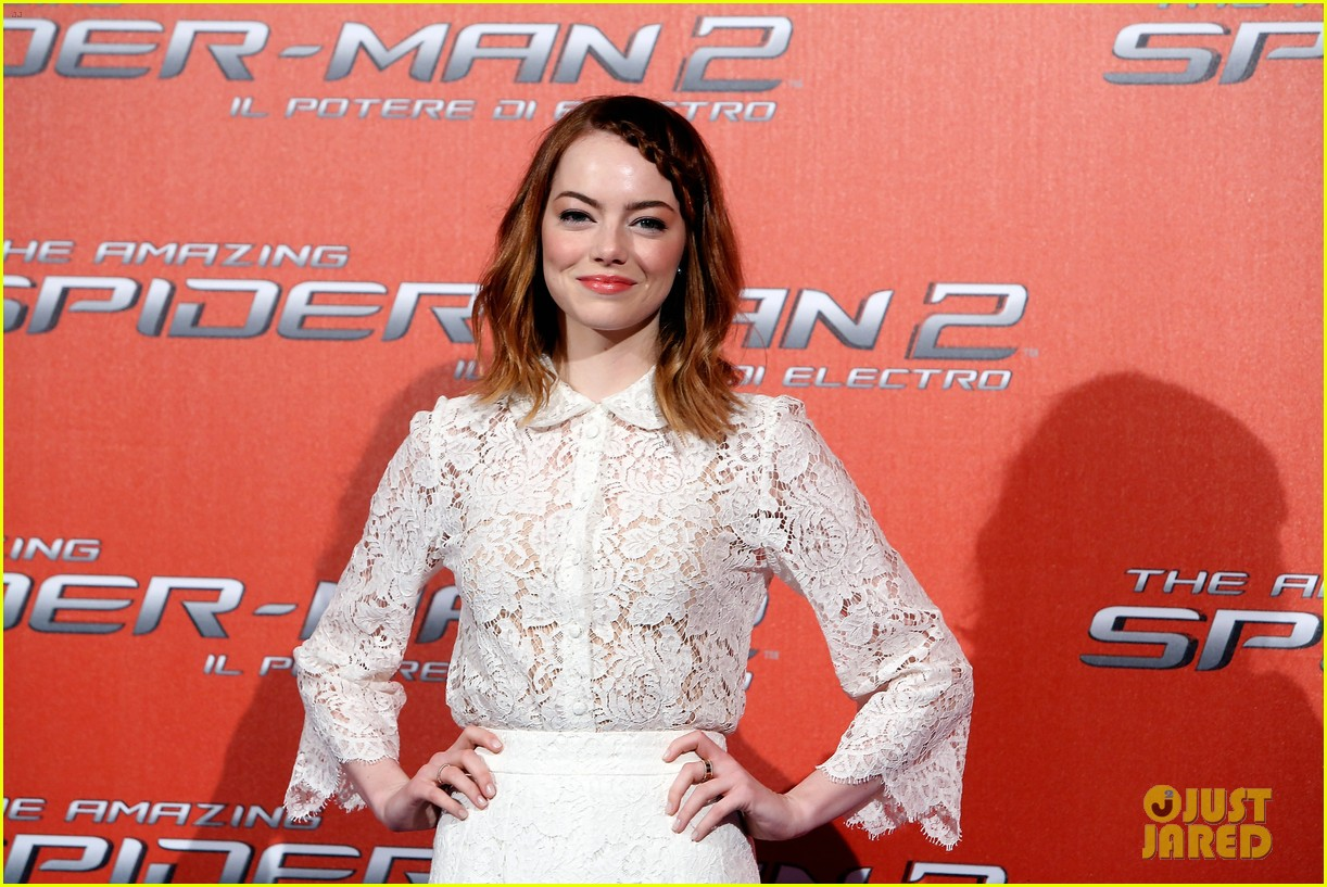emma stone braids her hair spider man 2 rome photo call 153091758
