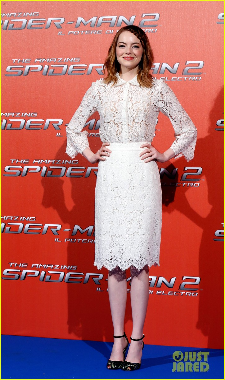 emma stone braids her hair spider man 2 rome photo call 183091761