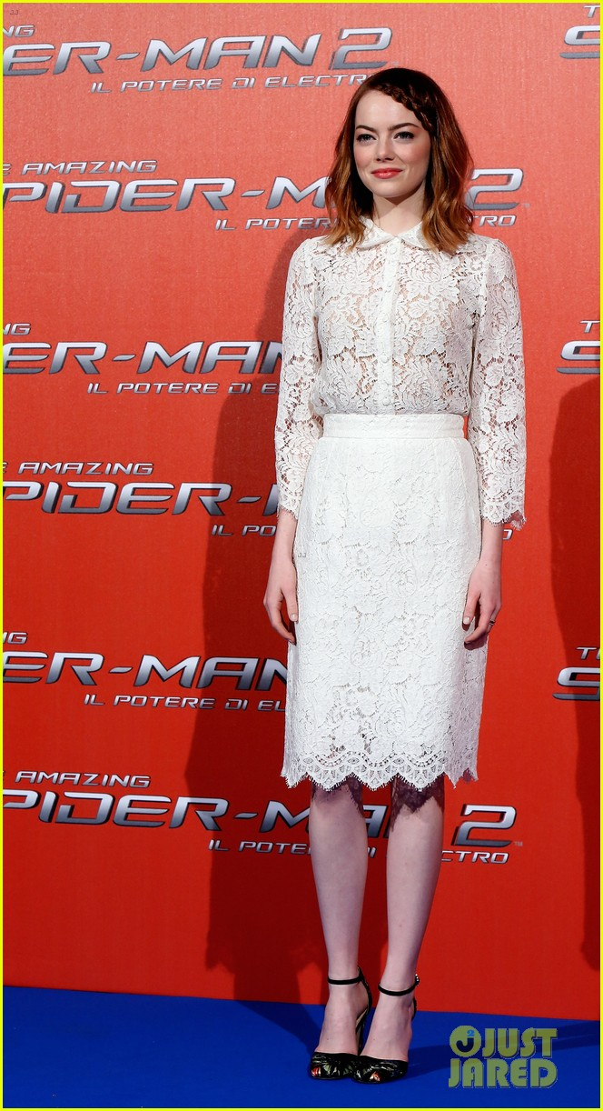 emma stone braids her hair spider man 2 rome photo call 193091762