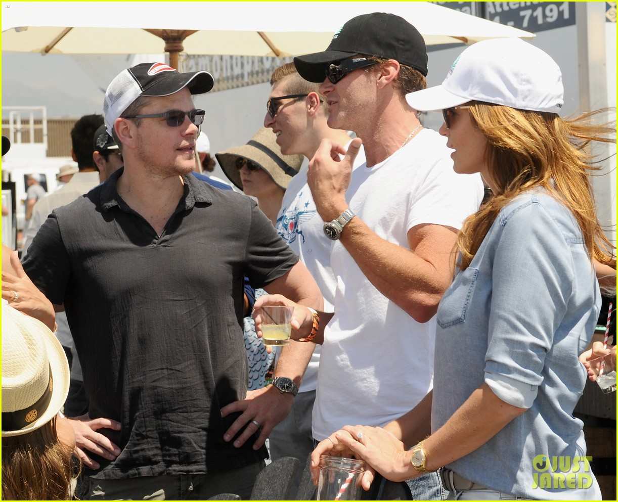 matt damon wife luciana mingle horsemen flight team 083105166