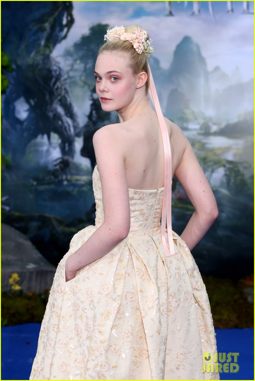 elle fanning looks like royalty at maleficent private reception 133108710