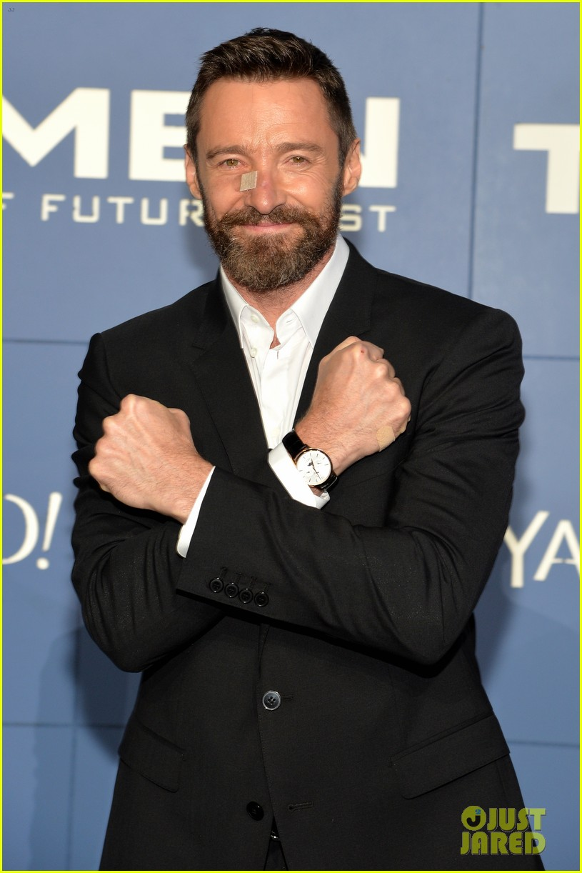 hugh jackman wears bandage on nose to x men premiere 023110313