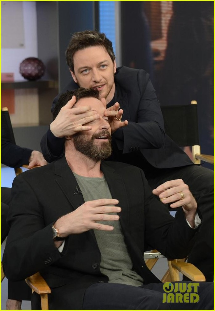 hugh jackman jon hamm bromance moment buddy around at gma 09