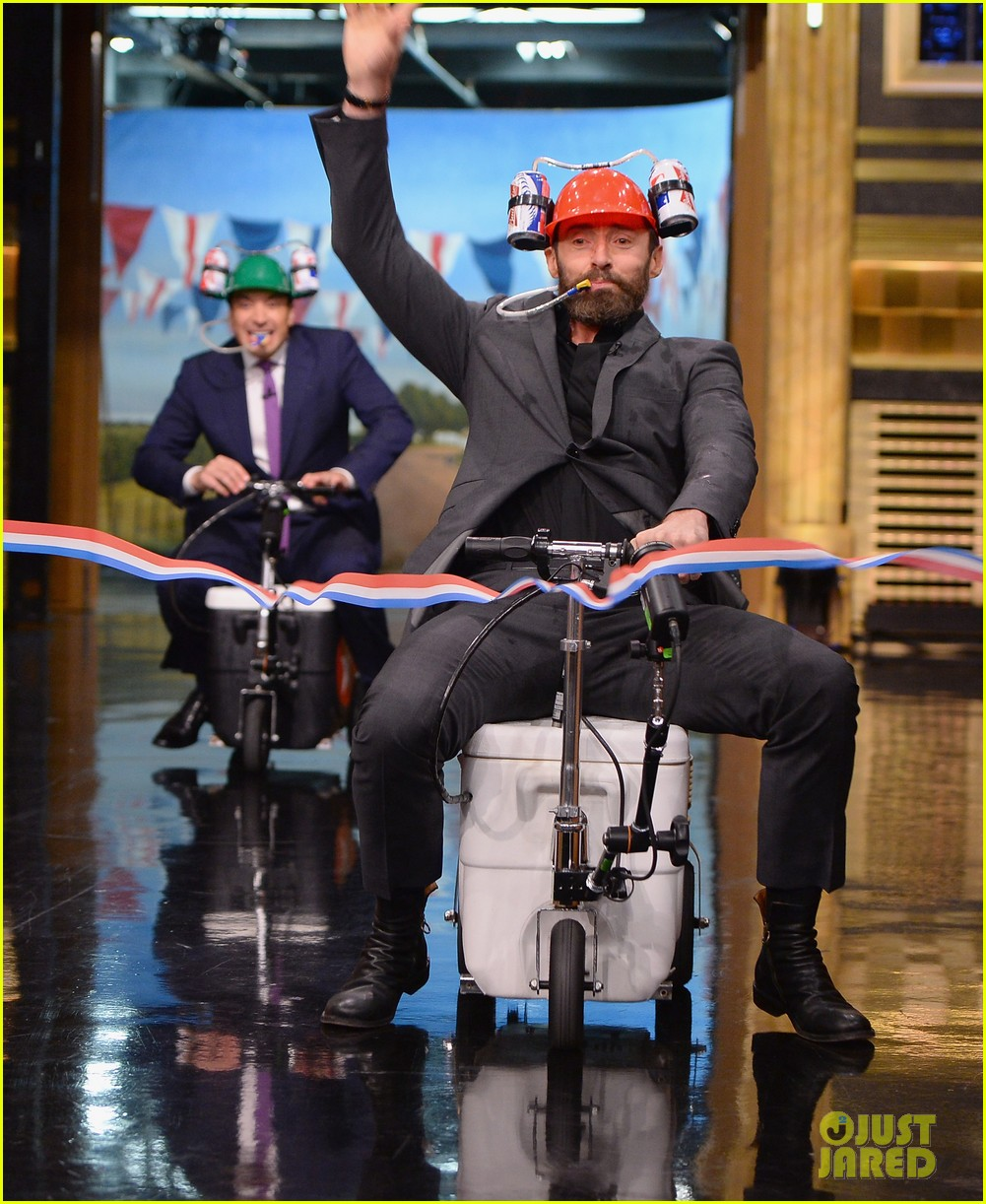 hugh jackman cooler scooter race with jimmy fallon 053119409