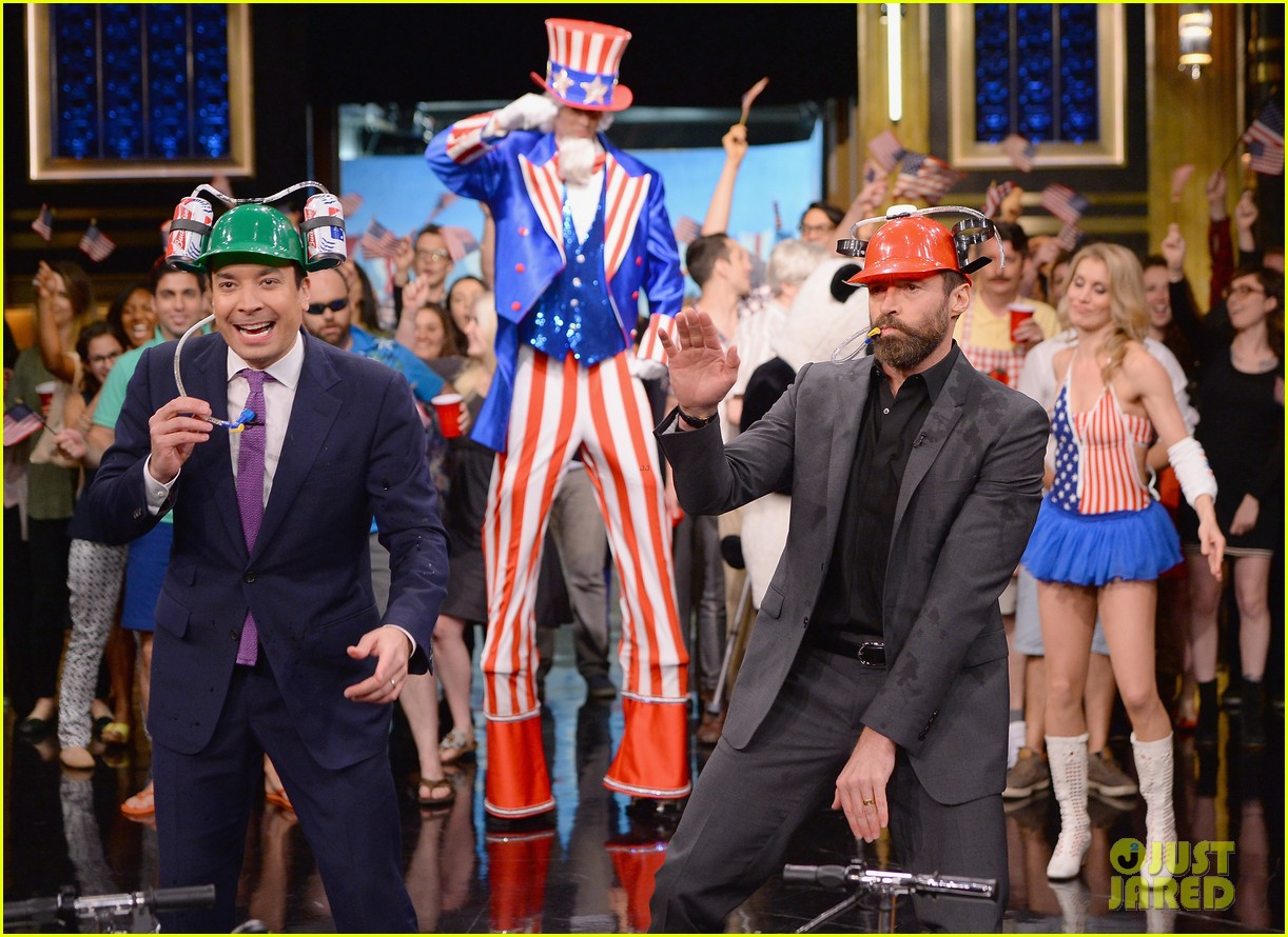 hugh jackman cooler scooter race with jimmy fallon 223119426