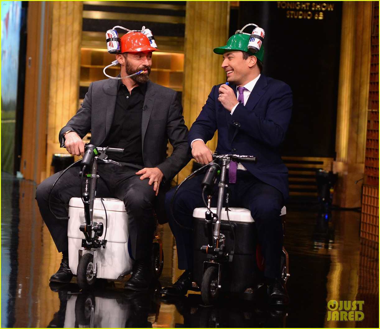 hugh jackman cooler scooter race with jimmy fallon 233119427