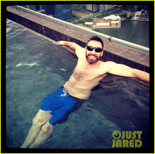 hugh jackman goes shirtless on a skyscraper in singapore 043113804