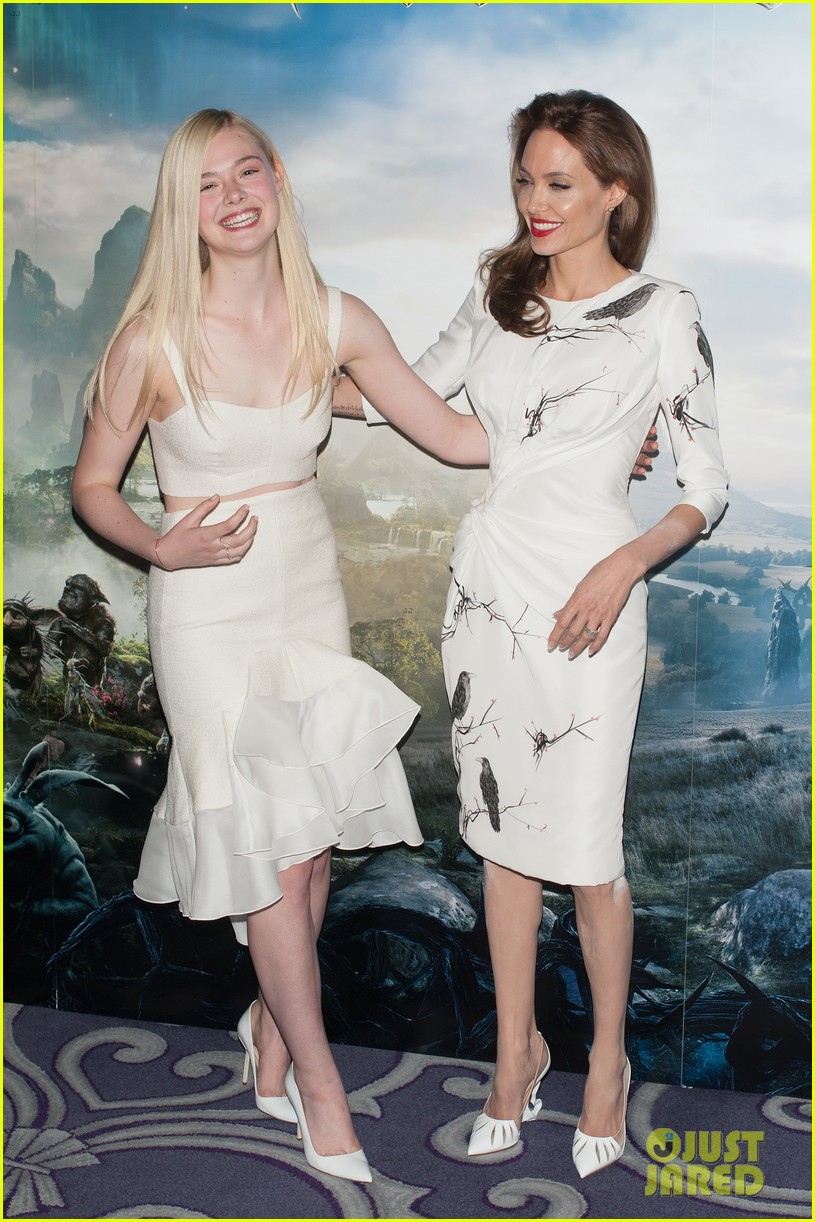 angelina jolie elle fanning are lovely in white at maleficent london 09