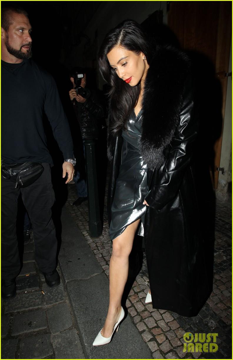 kim kardashian wears flashy dress for honeymoon date night 16