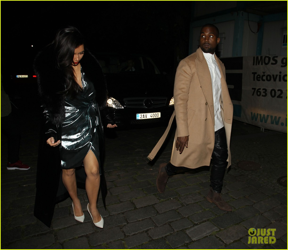 kim kardashian wears flashy dress for honeymoon date night 253124767