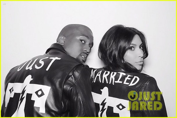 kim kardashian kanye west wear matching just married jackets 013122843