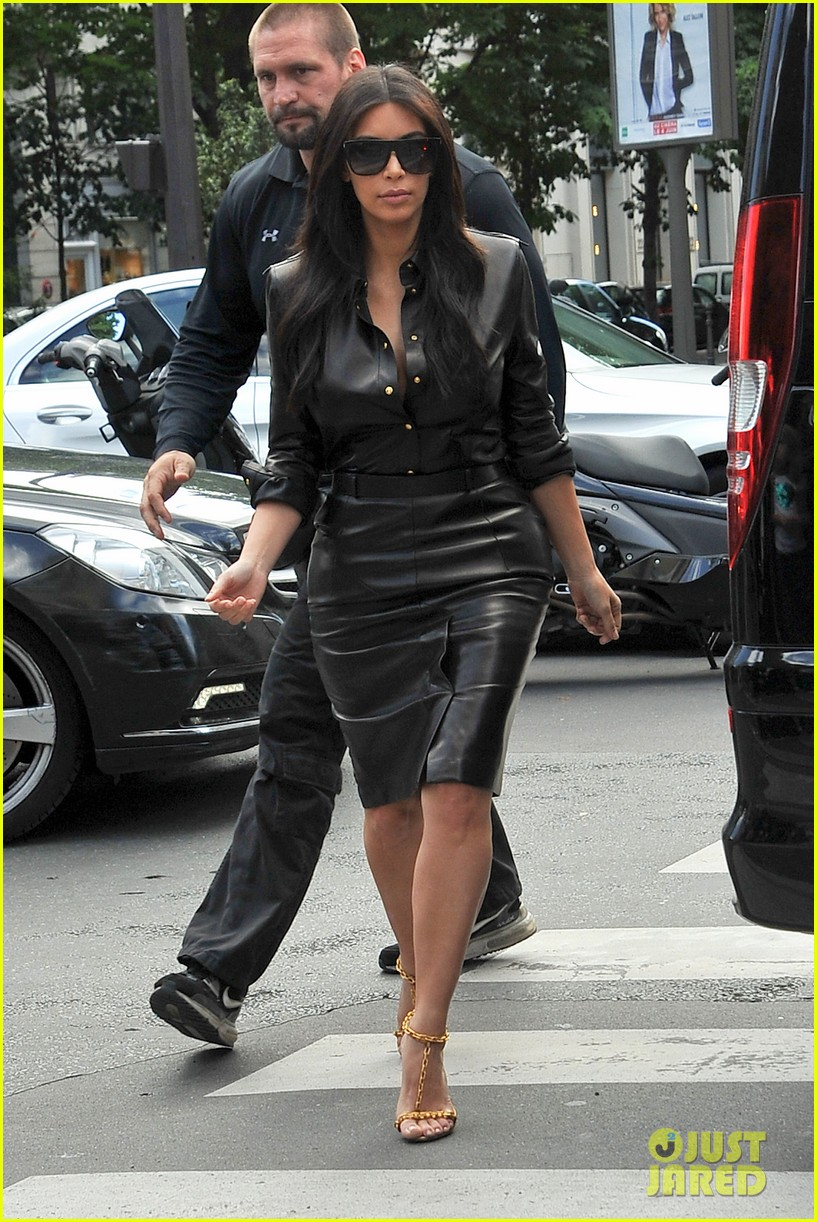kim kardashian wears tight leather dress for pre wedding shopping 033119790
