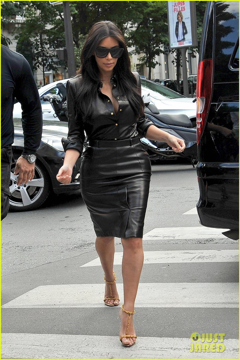 kim kardashian wears tight leather dress for pre wedding shopping 123119799