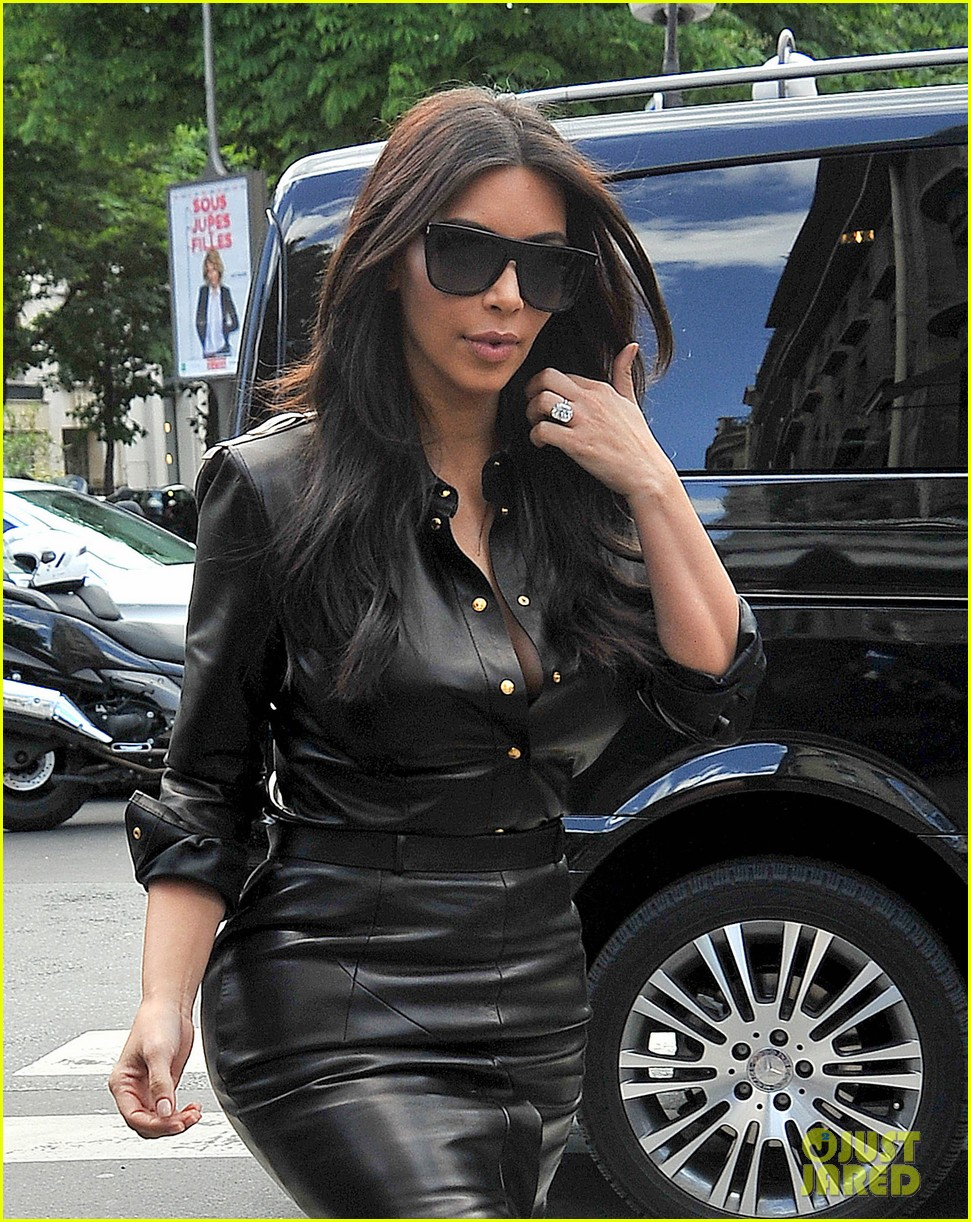 kim kardashian wears tight leather dress for pre wedding shopping 153119802
