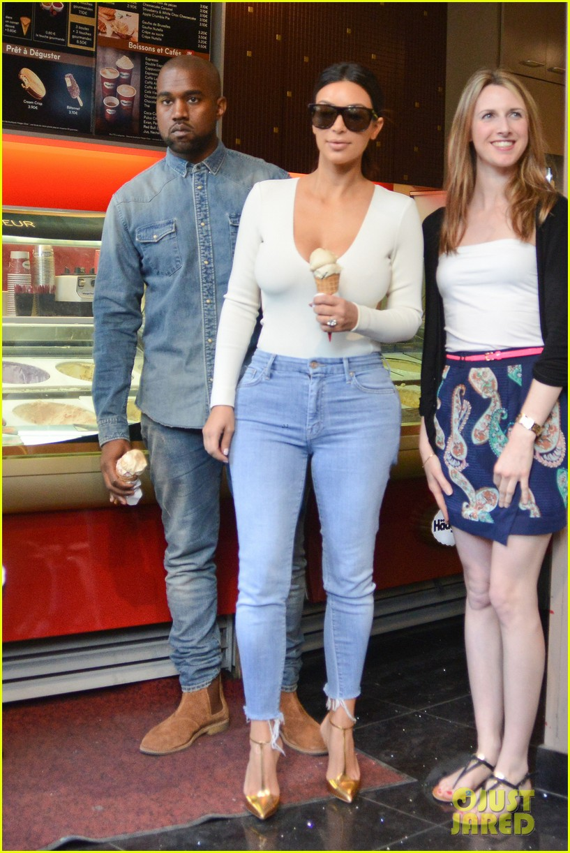 kim kardashian kanye west ice cream cones paris 043116468