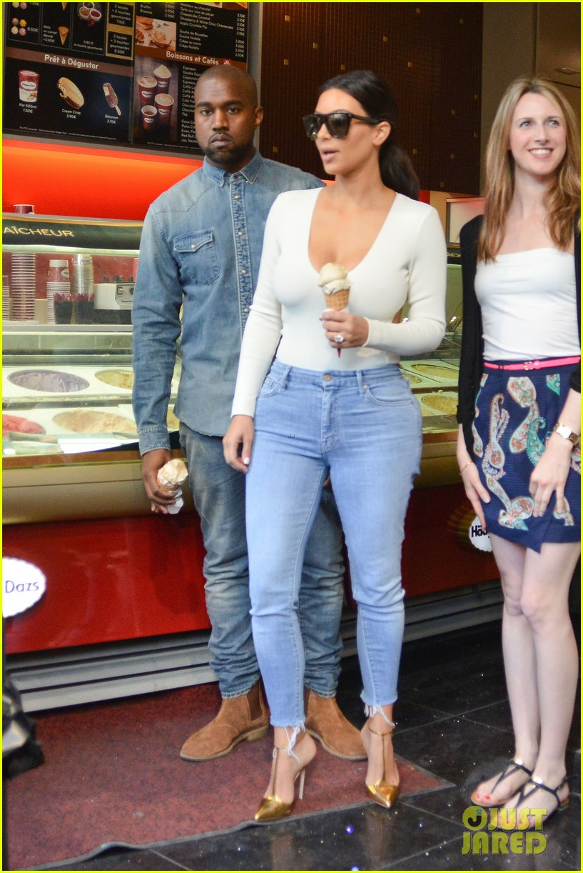 kim kardashian kanye west ice cream cones paris 083116472