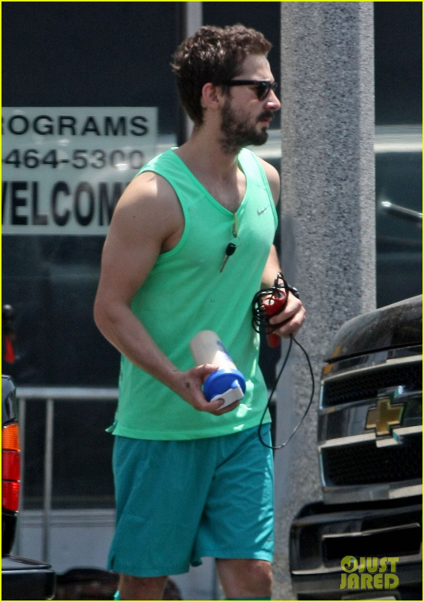 shia labeouf wears totally green outfit two days in a row 023110371