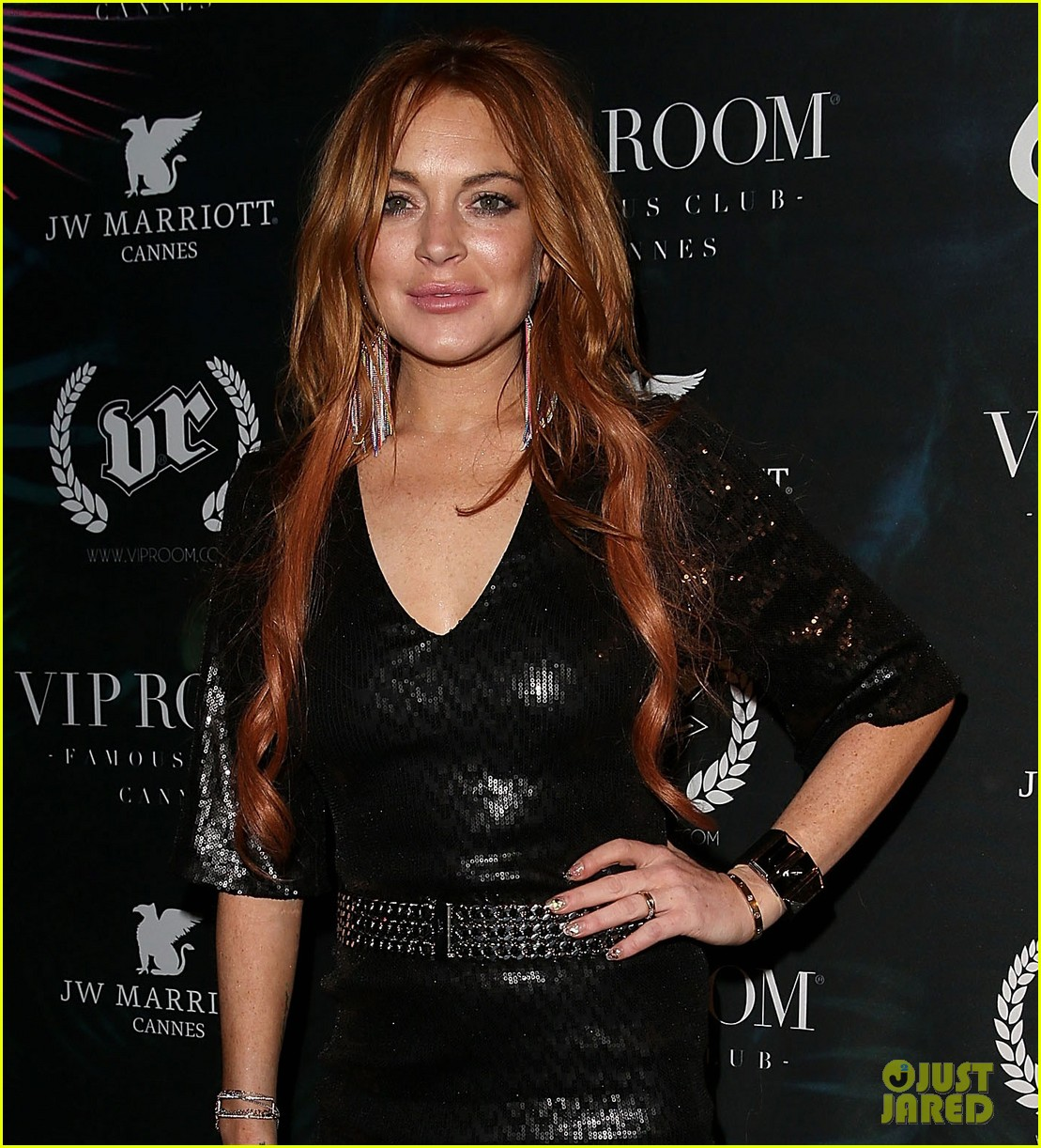 lindsay lohan sexy short dress party cannes 023119509