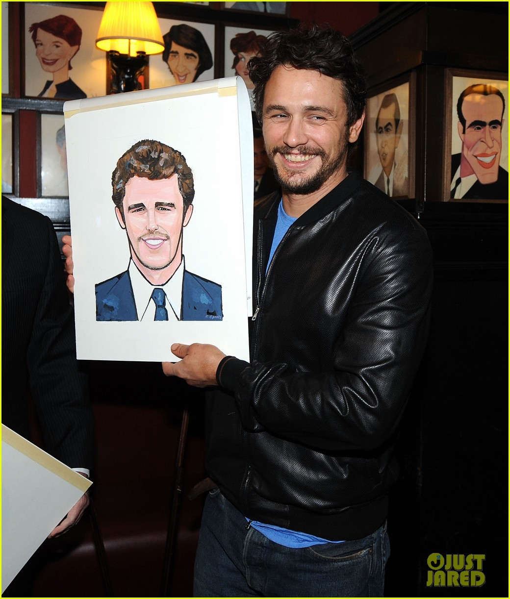 leighton meester james franco get caricatures at sardis 163119455