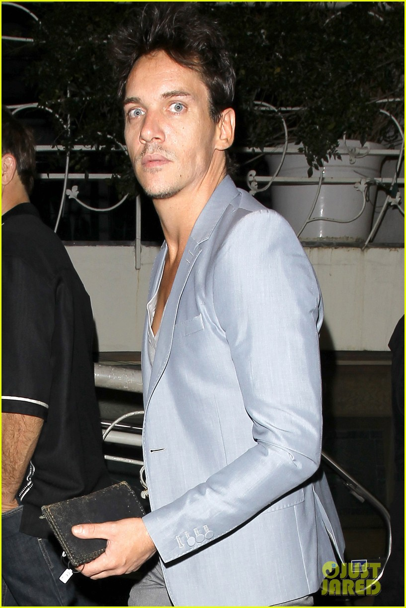 jonathan rhys meyers wears a deep v neck t shirt displays some chest 023107681