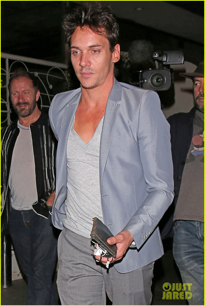jonathan rhys meyers wears a deep v neck t shirt displays some chest 043107683