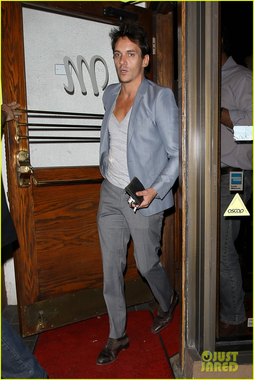 jonathan rhys meyers wears a deep v neck t shirt displays some chest 053107684