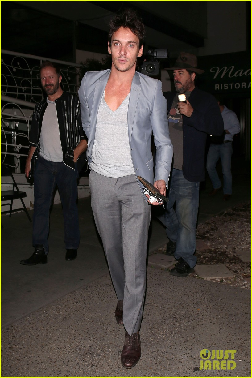 jonathan rhys meyers wears a deep v neck t shirt displays some chest 083107687