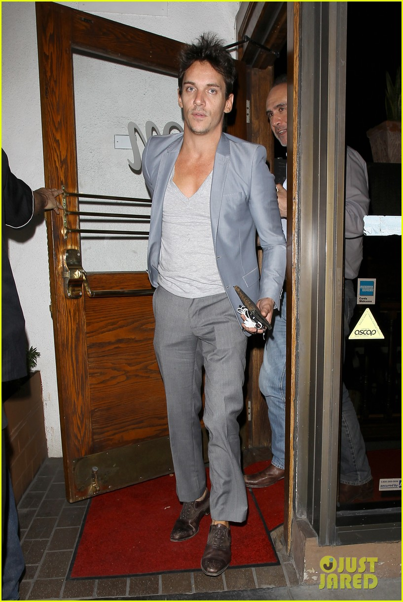 jonathan rhys meyers wears a deep v neck t shirt displays some chest 123107691