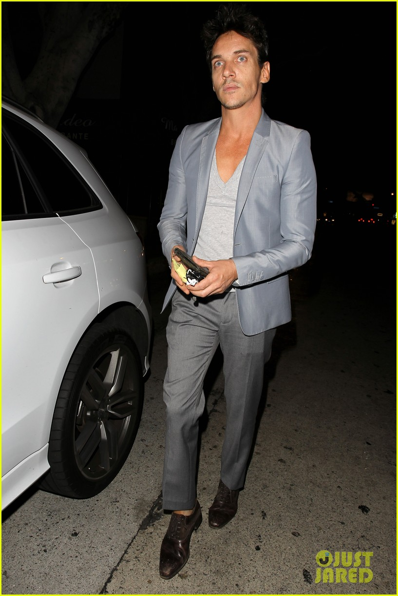 jonathan rhys meyers wears a deep v neck t shirt displays some chest 133107692