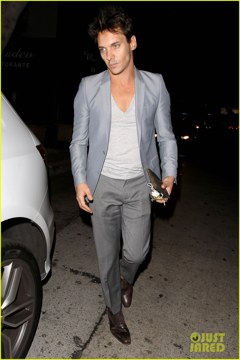 jonathan rhys meyers wears a deep v neck t shirt displays some chest 203107699