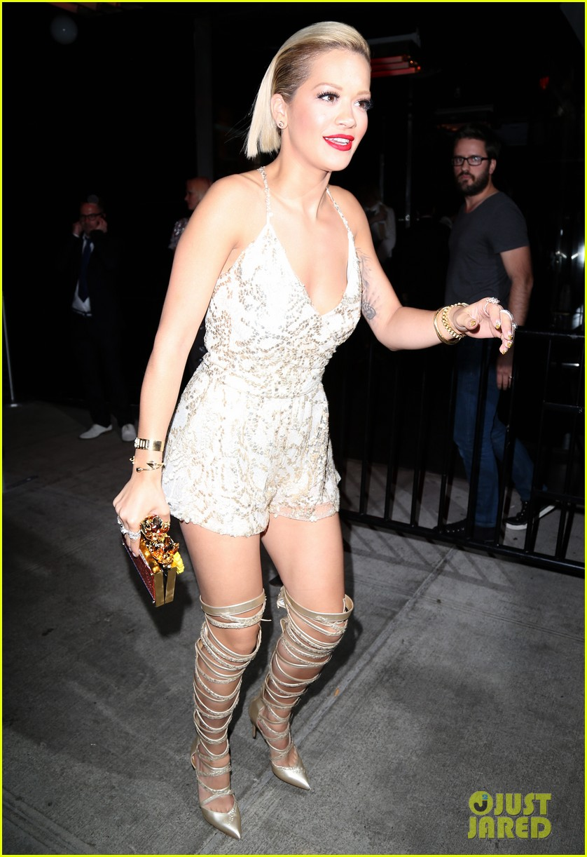 rita ora puts on a short dress funky heels for met ball after party 2014 033106864