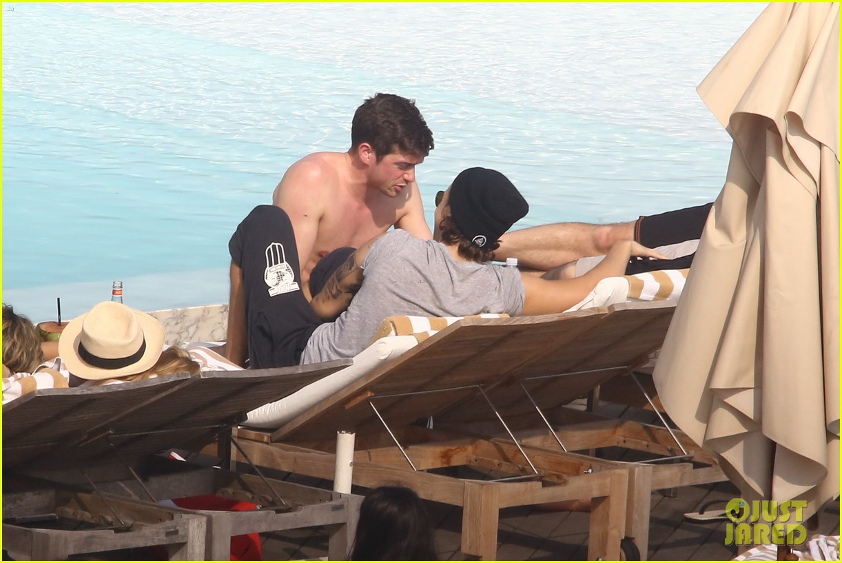 liam payne zayn malik lounge shirtless at the pool in rio 133108783